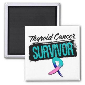 Superviviente fresco del cáncer de tiroides imán cuadrado