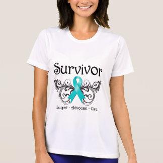 Superviviente ginecológico Deco floral del cáncer T Shirts