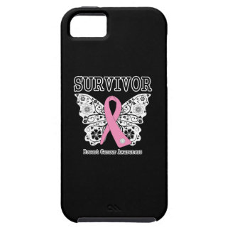 SUPERVIVIENTE - mariposa del cáncer de pecho Funda Para iPhone 5 Tough