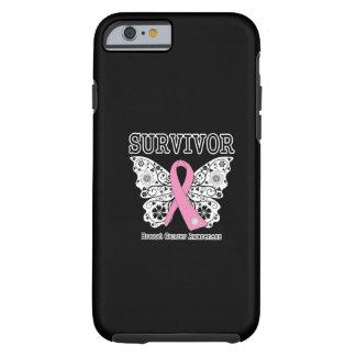 SUPERVIVIENTE - mariposa del cáncer de pecho Funda Para iPhone 6 Tough