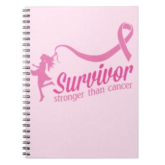 Superviviente más fuerte que cáncer libro de apuntes con espiral