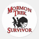 superviviente mormón del viaje etiqueta redonda