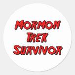 Superviviente mormón del viaje pegatinas redondas