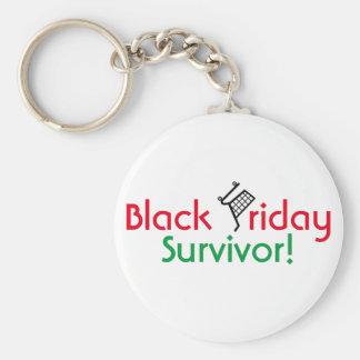 ¡Superviviente negro de viernes! Llavero Redondo Tipo Pin