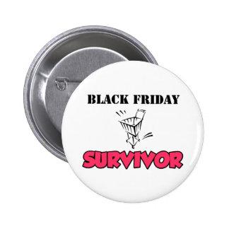 Superviviente negro de viernes pins