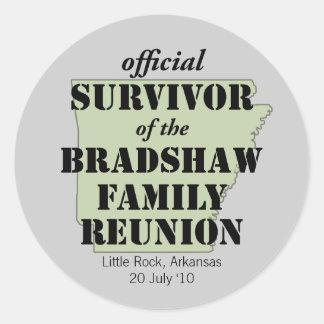 Superviviente oficial de la reunión de familia pegatina redonda
