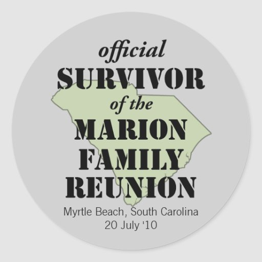 Superviviente oficial (verde) etiqueta redonda