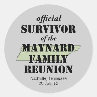 Superviviente oficial (verde) pegatina redonda