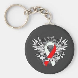 Superviviente oral con alas Grunge del cáncer de l Llavero Redondo Tipo Pin
