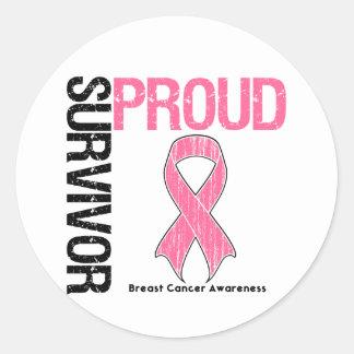 Superviviente orgulloso - cáncer de pecho pegatina redonda