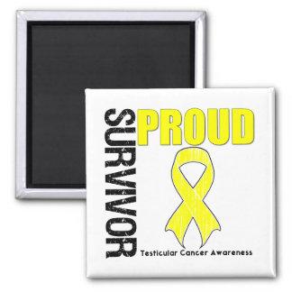 Superviviente orgulloso - cáncer testicular imán cuadrado
