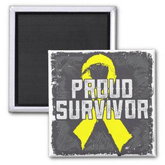 Superviviente orgulloso del cáncer testicular imán cuadrado