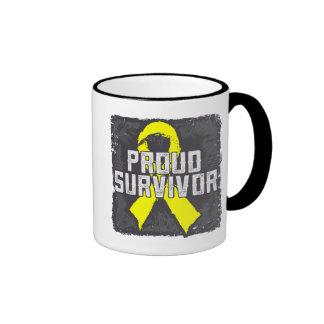 Superviviente orgulloso del cáncer testicular tazas de café