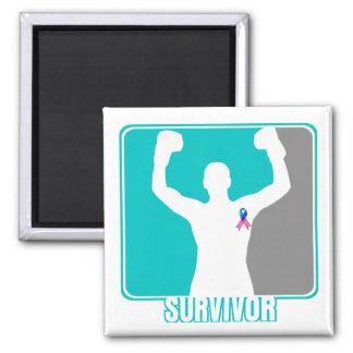 Superviviente que gana del cáncer de tiroides imán cuadrado