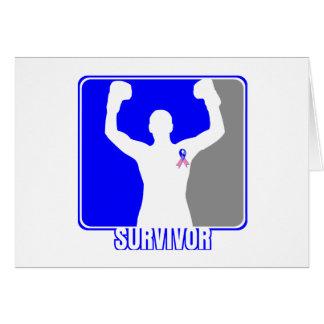 Superviviente que gana masculino del cáncer de tarjeta de felicitación