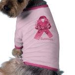 Superviviente rosado de la cinta camisetas mascota