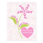 Superviviente rosado de la conciencia del cáncer d tarjetas postales