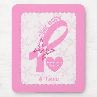 Superviviente rosado del cáncer de pecho de la mouse pads
