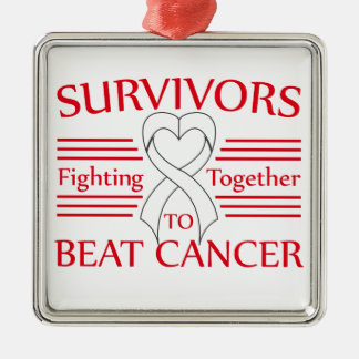 Supervivientes del cáncer de hueso que luchan adorno cuadrado plateado