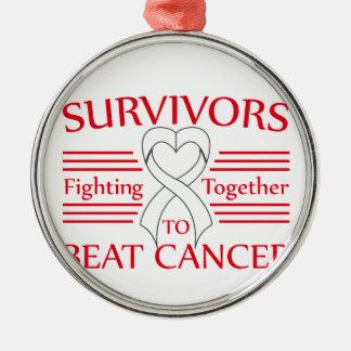 Supervivientes del cáncer de hueso que luchan adorno redondo plateado