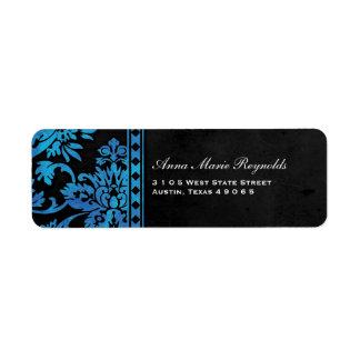 Suposición azul del cordón del damasco del vintage etiquetas de remite