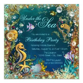 """Suposición bajo fiesta de cumpleaños del mar invitación 5.25"""" x 5.25"""""""