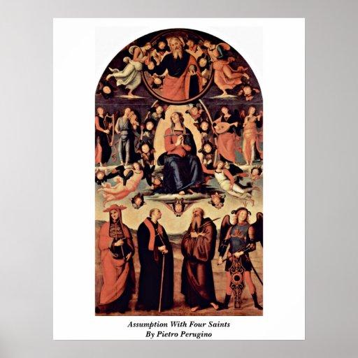Suposición con cuatro santos de Pedro Perugino Posters