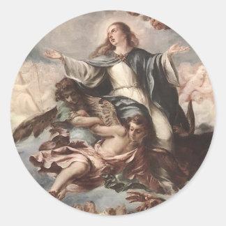 Suposición de Juan de Valdes Leal de la Virgen Pegatina Redonda