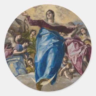 Suposición de la Virgen de El Greco Etiqueta Redonda