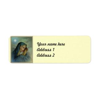 Suposición del Virgen María Etiqueta De Remite