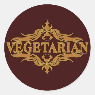 Suposición en Brown - vegetariano Pegatina Redonda