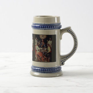 Supper At Emmaus By Pontormo Jacopo 18 Oz Beer Stein