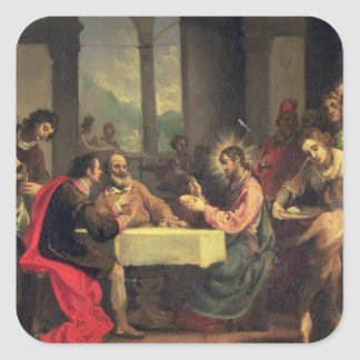 Supper at Emmaus c 1600-05 oil on panel Square Stickers
