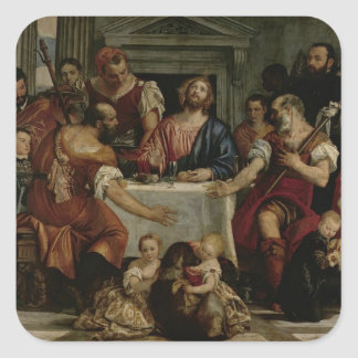 Supper at Emmaus (oil on canvas) Square Sticker