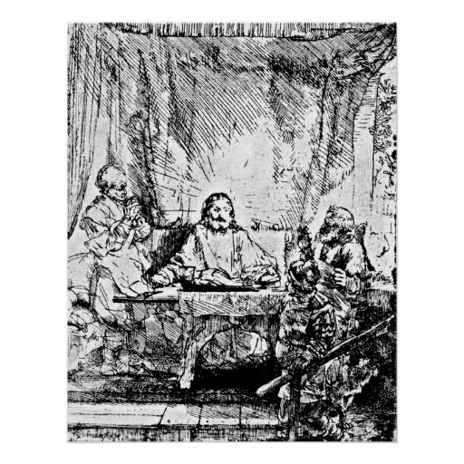 Supper at Emmaus Rembrandt Engraving Posters