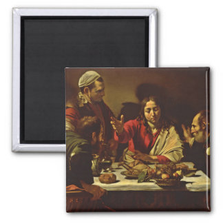 Supper at Emmaus with Friends 2 Inch Square Magnet