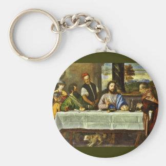 Supper at Emmaus with Friends Basic Round Button Keychain