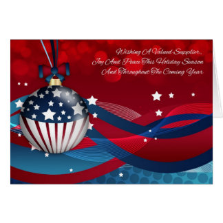 Supplier Business Stylish Holiday Season, USA Flag Card