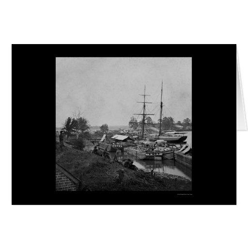Supply Boats in White House Landing, VA 1862 Card