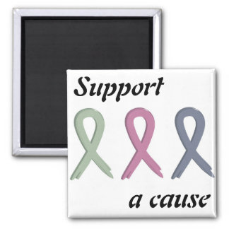 Support a Cause Three Ribbons Breast Cancer Awaren 2 Inch Square Magnet