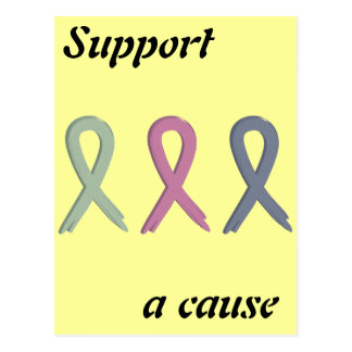 Support a Cause Three Ribbons Breast Cancer Awaren Postcard