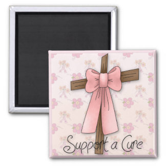 Support a Cure - Breast Cancer Awareness Cross Refrigerator Magnets