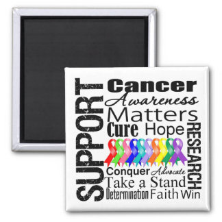 Support All Cancers Awareness 2 Inch Square Magnet