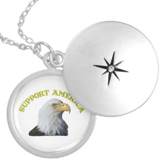 Support America Eagle Silver Plated Necklace