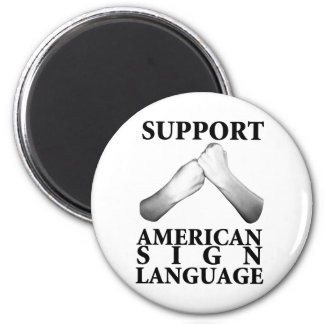 Support American Sign Language (back) 2 Inch Round Magnet