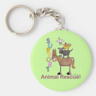 Support Animal Rescue Basic Round Button Keychain