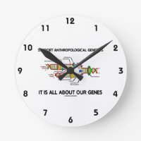 Support Anthropological Genetics About Our Genes Round Wall Clocks