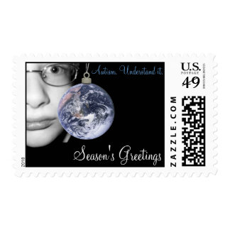 Support ASD Awareness Holiday Postage Stamp-LG