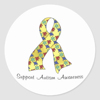 Support Autism Awareness Classic Round Sticker