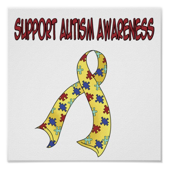 Autism Awareness Art Posters Framed Artwork: SUPPORT Autism Awareness Poster